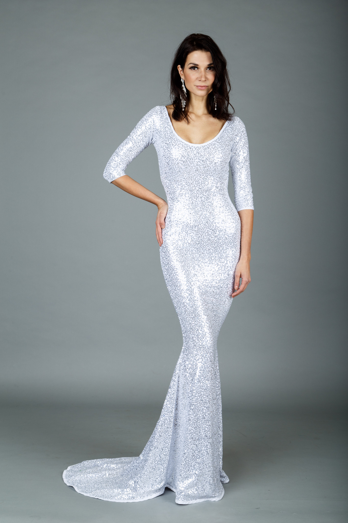 Ms. Arctic 3/4 Sleeve Sequined Gown - FuBoot